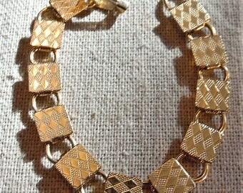 Mod Square Link Bracelet 1960's Gold Filled