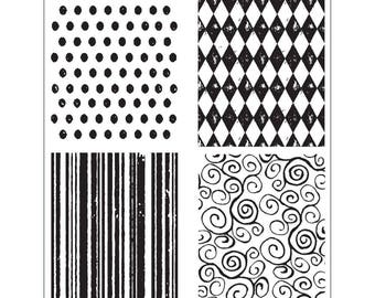 Tim Holtz TINY TEXTURES Cling Stamp set STAMPERs ANONYMOUS CMS042 4 pc 1.cc11