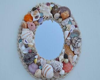 Coastal Decor Seashell Mirror, Nautical Decor, Seashell Mirror, Coastal Home Decor, Shell Mirror, Beach Decor, Nautical Oval Shell Mirror