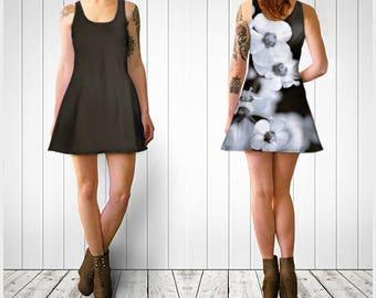 Flare Dress, Skater Dress, Teen Clothing, Gothic dress, Reversible dress, Brown Flare Dress, Flower Skater Dress, Spandex Mini Dress