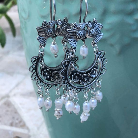Beautiful Frida Kahlo inspired sterling and freshwater pearl earrings