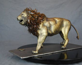 Made to Order Custom Small Metal Lion Sculpture by Jacob Novinger