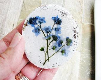 Forget Me Not Magnet, Magnet Art, Flower Art, Blue Flower Magnet, Refrigerator Magnet, Minimalist Magnet, Wood Magnet, Floral Gardener Gift