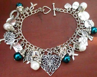 NEW Teal and White Awareness Butterfly Heart Charm Bracelet Cervical Cancer