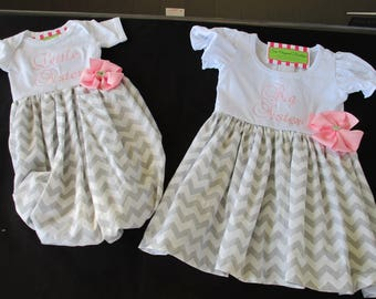 Big Sister Little Sister Outfits-Matching Sister Outfits-Big Sister Dress-Baby Girl Coming Home Outfit-Newborn Photo Shoot