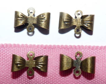 8 connectors bows bronze 1.2 cm for jewelry making