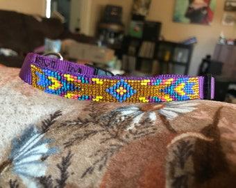 Purple and yellow tribal dog collar