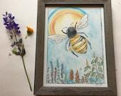 Honey Bee in Flight in Wildflowers with Rainbow  *original artwork*