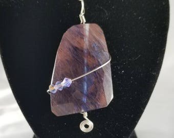 Blueberry Quartz Pendant with Crystal Beads