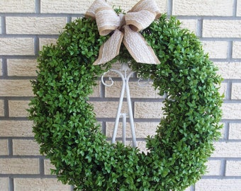 Boxwood Wreath, Spring Wreath, Year Round Wreath, Front Door Wreath, Wall Wreath, Home Decor, Housewarming Gift