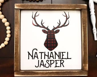 Rustic Name Sign / Buffalo Plaid / Children's Name Sign / Nursery Name / Nursery Name Sign / Deer Buffalo Plaid