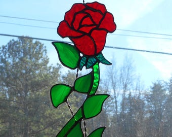 Stained Glass Rose with a Vine Suncatcher - Handcrafted in Tennessee