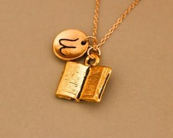 Custom gold mini book necklace - book necklace for teacher gift- book necklace for book lover gift - book jewelry for book lover gift