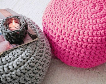 Pink Fuchsia Knit Pouf Ottoman, Round Floor Cushion, Knit Pouf, Boho Decor, Nursery Footstool, Bean Bag Chair, Crochet Pouffe