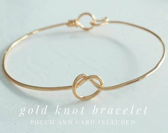 Gold Love Knot Bracelets and Cards / Tie the Knot Bangle / Bridesmaids Gifts / Wedding Favor / Silver Gold Rose / Gold Infinity Knot
