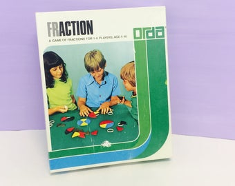 Vintage Fraction Game, Math Games, Educational Toys, Fun Math Toy, Action Math Game, A Game of Fractions, Teacher Supplies, Learning Tools