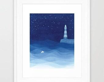 Original art lighthouse watercolor painting lighthouse painting lighthouse art sailboat painting blue nursery art blue art 8 x 10