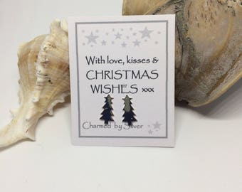 Sterling Silver Christmas Tree stud Earrings with a Christmas Message