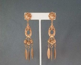 Vintage Feather Motif Chandelier / Dangling Earrings