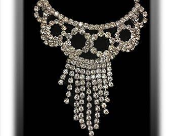 Vintage Rhinestone Necklace, Diamanté, Silver Tone, Clear Rhinestones, Wedding Jewelry, Something Old, Mid Century Jewelry, 1950's, 1960's