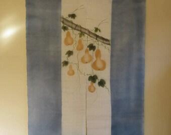 NOREN CURTAIN HEMP Japanese Vintage Noren Curtain Room Divider Handdyed Hanging Gourds Bamboo SemiSheer Hemp Noren Great Wall Decor Divider
