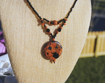 Black and Goldstone Necklace