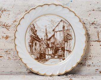 plate wall Germany porcelain white ceramic decor Vintage decorative brown white plate hanging porcelain collectible plate old city art