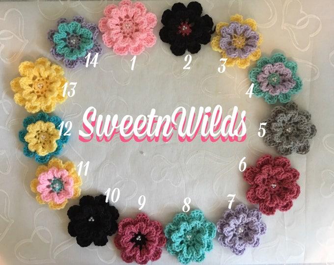 Raibow of Crocheted Flowers