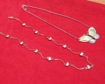 Lot Of Two Retro  Butterfly Necklaces One Marked Avon