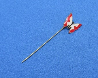 Vintage Butterfly Red & White Enameled Stick Pin