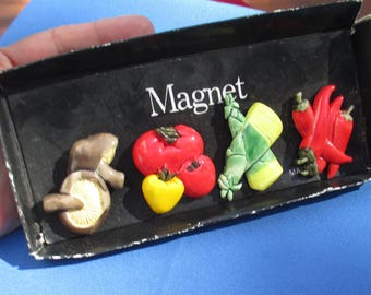 Vintage Veggie Fruit  Themed Resin  Refrigerator Magnet Set Made In Taiwan In Box