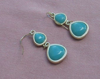 Retro Blue Beaded Dangling Pierced Earrings