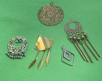 Lot Of Salvaged Metal Dangling Pendants