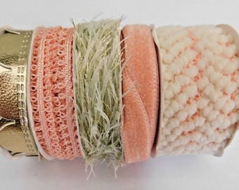 Ribbon, Trim, Embellishments, Peach, Gold Tone, 5 Different Trims, 15 Yds Total, Craft Accents,  A2
