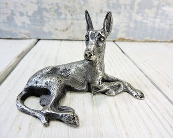 Pewter Great Dane Dog Figurine Vintage Great Dane Laying Down Figurine Made in Italy Collectible Dog Large Dog Statue