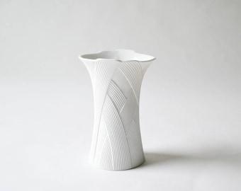 Vintage White Porcelain Bisque Vase by AK Kaiser Designed by M. Frey Braided Relief Basket Weave Pattern Vintage Minimalist Vase
