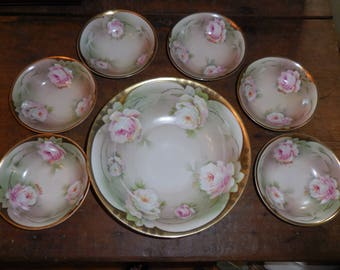 Antique P.S.A.G. Bavaria Signed Ragouse Hand Painted Large Bowl with Six Small Bowls Gold Trim