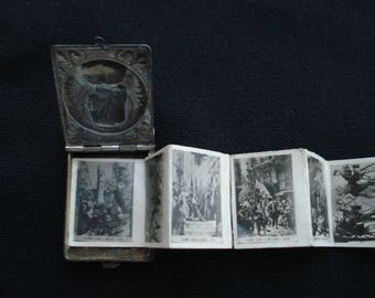 Antique religious French catholic silvered booklet locket relic shrine of Joan of Arc / Jeanne d'Arc. ( 1 )