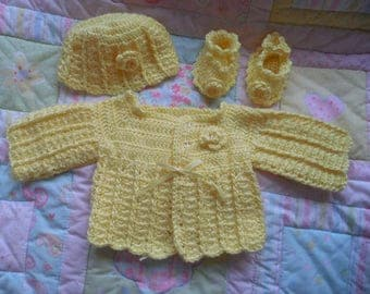 Crochet baby sweater, baby crochet sweater girl, newborn, baby girl, handmade sweater baby, baby dress, yellow baby sweater, infant sweater