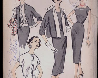 Part Cut 1950s Size 12 Bust 32 Edith Head Dress Jacket Weskit Blouse Advance 8591 Vintage Sewing Pattern 50s American Designer Wiggle