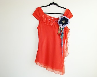 Coral Red Silk Top, Chiffon silk Blouse, Summer Top, Felted Flower Brooch, Fashion Asymmetrical Ruffle Top, Size  Large