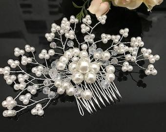 beautiful elegant handmade wedding bridal flower hair comb crystal  pearl bridal hair accessory
