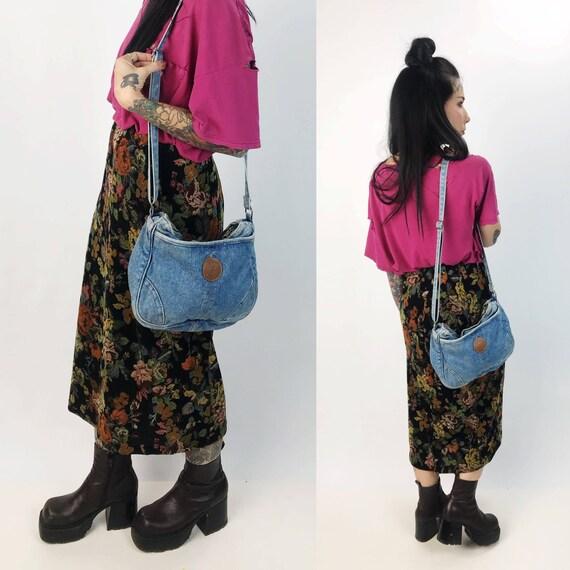 90's Slouchy Denim Purse Crossbody Bag - Vtg Soft Slouchy Denim SHANE Purse - Vintage Blue Everyday Denim Bag Multiple Pocket Long Strap