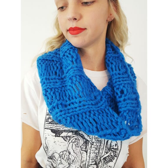 Hand Knit Upcycled Electric Blue Circle Scarf - Boho Hipster Fashion Womens Accessory - Soft Warm Fall Womens Handknit Acrylic Cowl Scarf