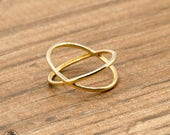 Gold X Ring, Dainty X Ring, Yellow Gold Crisscross Ring, Solid Gold X ring, 14 Karat Yellow Gold Crisscross Ring | LDR02583