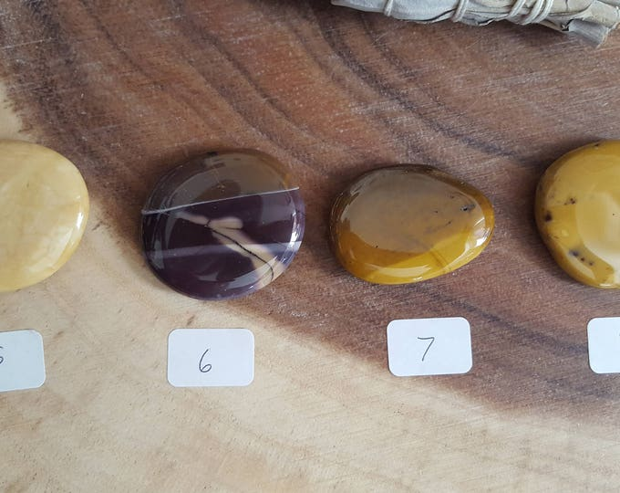Small Mookite Palm Stone, Chakra Stone, Worry Stone, Fidget Stone~1 Reiki infused polished flat crystal, approx 1.5in