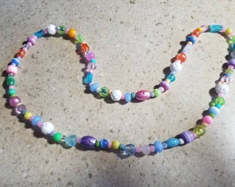 """Pastel beaded necklace 28"""""""
