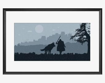 Winterfell Skyline, Winterfell print, Game of thrones, Inspired art, Winterfell poster, Winterfell artwork, Game of thrones print, Jon Snow
