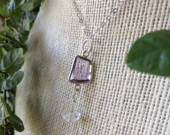 Faceted Amethyst with Rutilated Quartz bead in Sterling