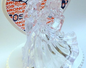 Wedding Cake Topper Denver Broncos Football Themed Clear Couple Dancing First Dance Bride Groom Pretty Elegant Sports Fans w/ Bridal Garter